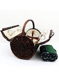 Stamford 4 persona cesta de picnic de mimbre con una manta impermeable verde tradicional