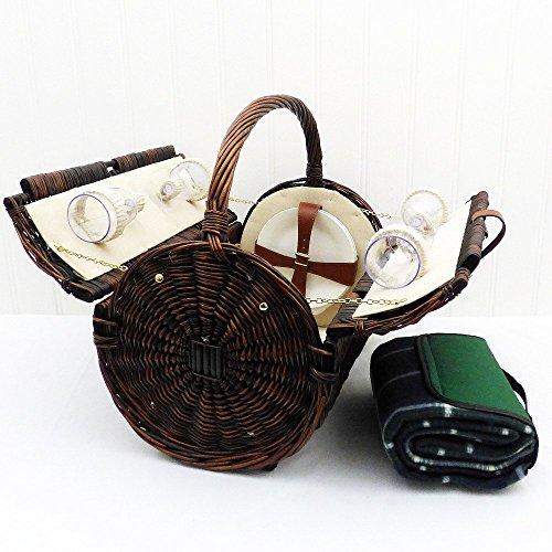 Stamford 4 persona cesta de picnic de mimbre con una manta impermeable verde tradicional - Regalo perfecto para el Día de la Madre