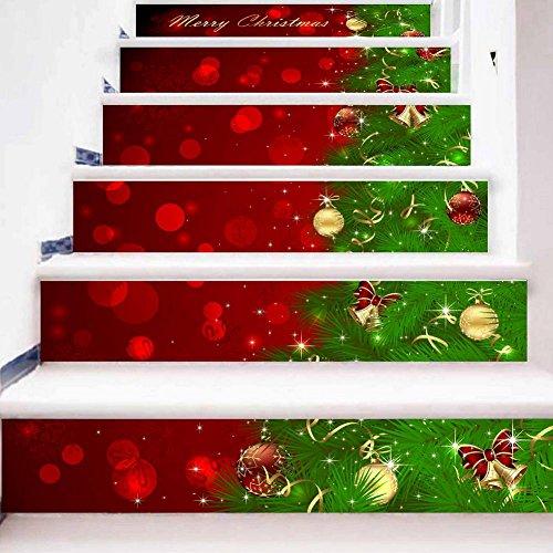 (GPFDM Fröhliche Weihnachten Kreativ 3D Treppenhaus Aufkleber Wasserdicht Englische Buchstaben Selbstklebend Wandbilder Zuhause Urlaub Dekorieren Herausnehmbar Wandtattoo Kombinations-Set , 1 Set 6 pcs , 100*18cm)