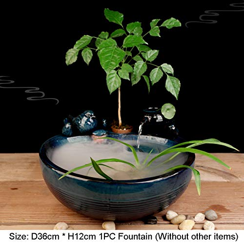 Table fountain-LGRMBBCY Retro Blauer Vogel Keramik Luftbefeuchter Brunnen Feng Shui Dekoration Schreibtisch Wasser Blumentopf Vase Glück Geschenk,E (Brunnen Schreibtisch)