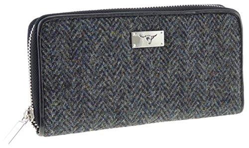 Damen Geldbörse, Harris Tweed, langer Reißverschluss, Charcoal LB2100 Col1