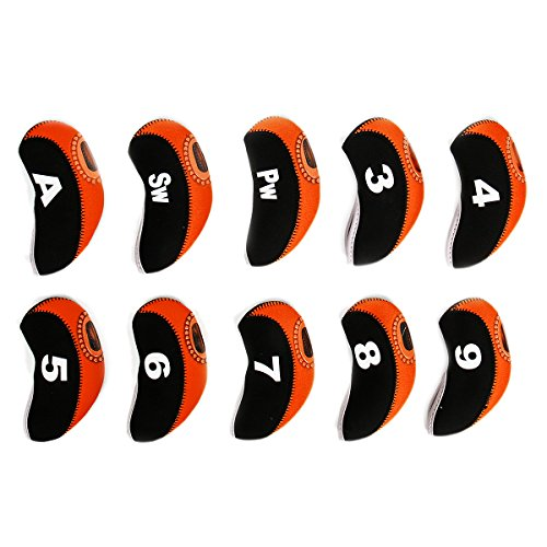 Cusfull 10pcs kit de Couvre-Fers de Golf avec Numéro, Housse Imperméable, Etui Semi-Transparent de Production Adapté pourTtitleist, Callaway, Ping, TaylorMade, Cobra, Nike, M1, AP2, PXG, etc (Orange)