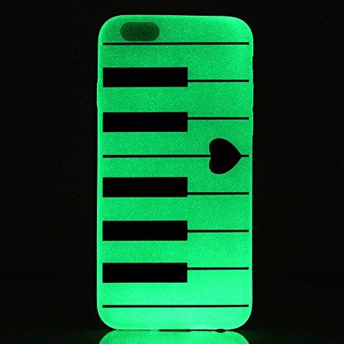 Coque pour iPhone 5 / 5S / SE Noctilucent Fluorescence Bouton Gold TPU Transparent Gel Silicone Extra Fine Slim Creative Soft Haute Qualité Case, GOCDLJ iPhone 5 / 5S / SE Couvrir Coverture Cas Sac Mo Amour Piano