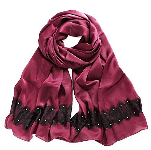 Mme Mode 100% Foulards De Soie Printemps Echarpe Et L'ombre D'été red