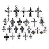 25pcs Colgantes de Collar Pendientes de Collar de Aleación Colgante Cruz