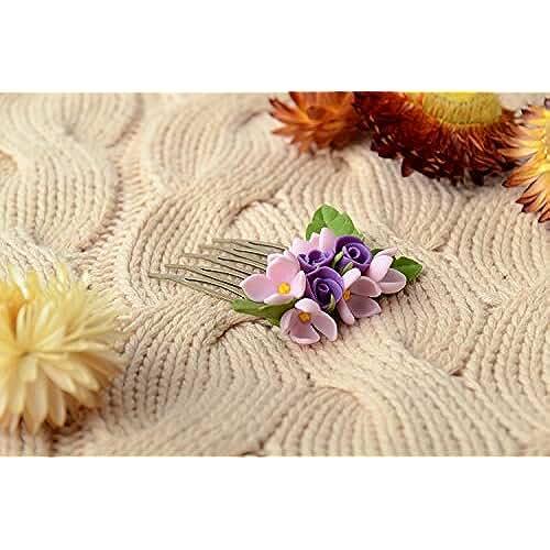 figuras kawaii porcelana fria Peineta para el pelo de porcelana fria artesanal con lila y rosas