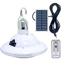 LISOPO Solar lámpara Bombilla de 22 LED Solar con Ganchos y Mando a Distancia para Camping