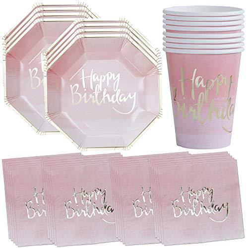 William & Douglas Pink Ombre Happy Birthday Party Supplies Bundle | Papier Teller, Tassen und Servietten