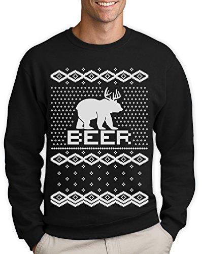 BEAR + DEER = BEER -- Witziger Weihnachtspulli Sweatshirt Schwarz