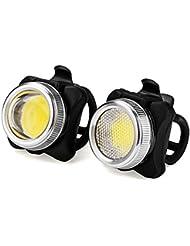 LED Lumière du Vélo Set /LUZWAY COB LED Stepless Dimming Phare Lampe de Vélo Avant et Arrière avec USB Rechargeable 650 mAh Batterie,5 Modes de Lumière, Arrière (Rouge et Blanche)