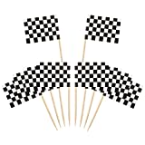 Drapeau des Cure-Dents,Drapeaux de Cure-Dents 100 pièces Bambou Mini Drapeau de Course à Damier pour Gâteau de Fête Cheeseplate de Nourriture Apéritifs