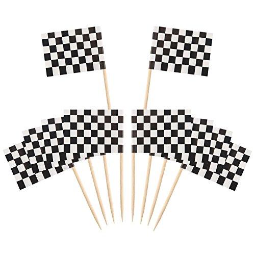 Flaggenpicker Bambus Checkered Racing Toppers Toothpick für Party Kuchen Lebensmittel Käseplatte Vorspeisen 100 Stücke ()