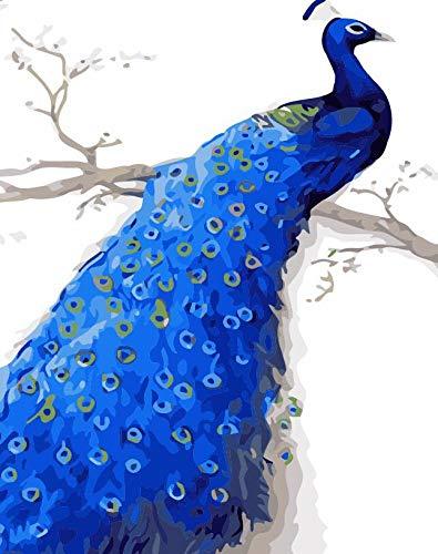 HAOPIN DIY Ölgemälde Leinwand Ölgemälde DIY Leinwand Gemälde Malen Nach Zahlen Gemälde Für Erwachsene Und Kinder Wohnzimmer Schlafzimmer Dunkelblauer Pfau-40x50 (Mit Rahmen)