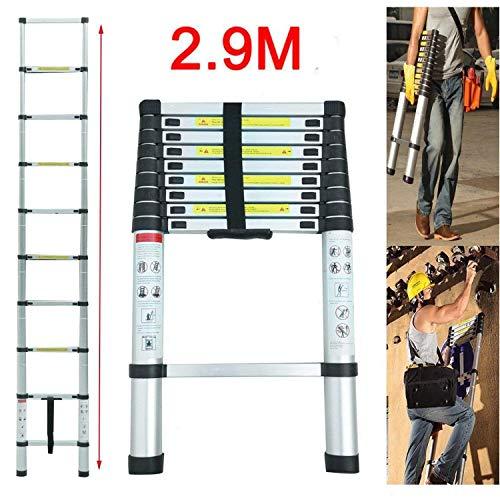 Teleskopleiter 2.9M Alu Leiter Ausziehbar Haushaltsleiter Teleskopleiter Aluminium Klappleiter Ausziehleiter Mehrzweckleiter -Maximale Belastbarkeit 150 kg
