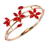 Bling N Beads Designer Red Floral Golden Bracelet for Women