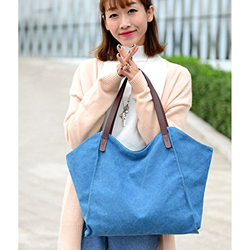 HeHe Borsa Tote a tracolla in tela di cotone Shopping Bag Blu
