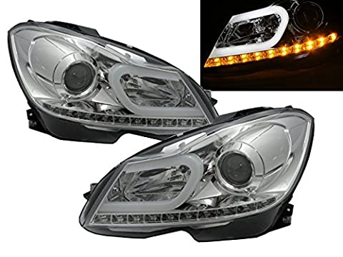 CrazyTheGod W204 2012+ Facelift CCFL Projector Headlight Headlamp 2013 New R8 Style w/LED Indicator CHROME for Mercedes-Benz