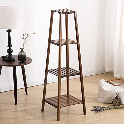 Blumenregal Blumenständer Blumenrahmen Blumen Rack Stehend Bambus Außen Balkon Sukkulenten Multifunktions Tower Multilayer (Farbe : Maroon 4-Tier) - 4-tier Tower