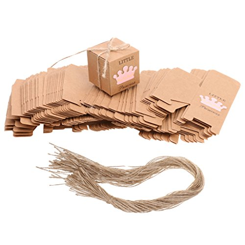 sharplace 50Papier Prince Princess Crown Candy Geschenk-Box Girl Boy Baby Dusche Favor rose