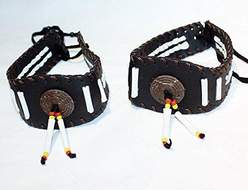 2 x Indianer Oberarmband Armband Paar Bänder echtes Leder Bone (Herren Kopfschmuck Indianer)