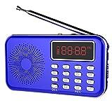 iMinker aggiornato radio FM portatile digitale mini Altoparlante Lettore MP3 Registratore vocale (Blu)