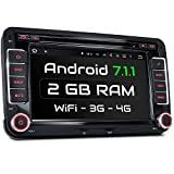 XM-2DA702 Autoradio passend für VW SEAT SKODA I mit Android 7.1.1 I mit GPS Navigation Bluetooth I Support: WiFi DAB+ OBD2 I 7