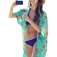 Mujeres Gasa Pareos Playa Manto Protector Solar Larga Vestido Traje De Baño Bikini Cubierta Hasta Ropa De Playa (Verde)