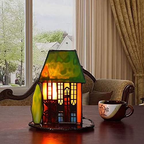 Kleine Haus Dekoration Tisch Lampe Schlafzimmer Esszimmer Küche Schlafzimmer Nachttischlampe Tiffany Art Buntglas Schreibtischlampen Deko Wohnzimmer Tischleuchte Für Kinder Nacht Licht,B