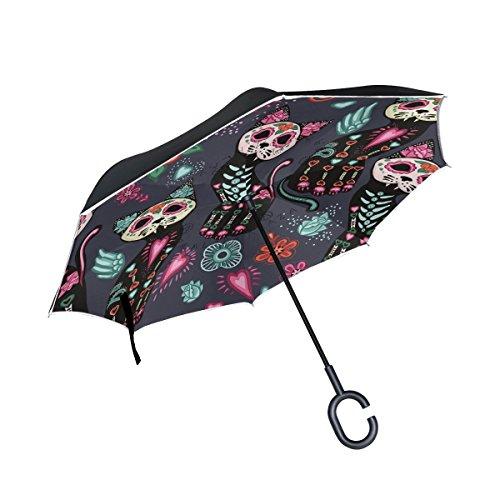 Zucker Katze Skull Flowers Double Layer seitenverkehrt Regenschirm Cars Rückseite Regenschirm Wasserdicht Winddicht groß Gerade Polyester Regenschirm für Sonne und Regen Outdoor mit C-förmigem Henkel