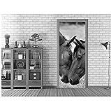 PANDABOOM 3D Schwarz Weiß Pferde Türaufkleber Wandbild Wandkunst Tapete Print Aufkleber Wand Foto Selbstklebende Türverkleidung Für Wohnzimmer 77X200Cm