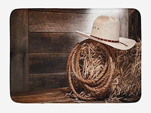 Western Badematte, American West Rodeo Hut traditionelle Ranching Robe auf hölzernen Boden Volkskunst Foto, Plüsch Badezimmer Dekor Matte mit Rutschfester Rückseite -