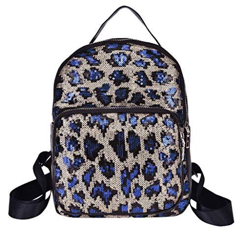 Pailletten-hobo Handtasche (MEIDI Home Frauen Mädchen Pailletten Leopardenmuster Schultasche Rucksack Damen Casual Reißverschluss Satchel Reise Umhängetasche (Color : Blue))