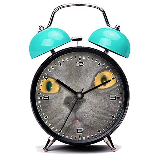 girlsight Blauer Wecker, Nette Katze Graue Katze Gesicht Twin Bell Wecker mit Nachtlicht