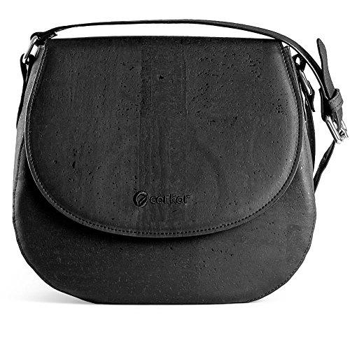 CORKOR Veganer Schultertasche Böhmischen Umhängetasche Damen Geldbeutel Handtasche Natur-Leder Natur - Saddle Bag - Beuteltasche aus Veganem Leder Schwarz (Klassische Flap Handtasche Bag)