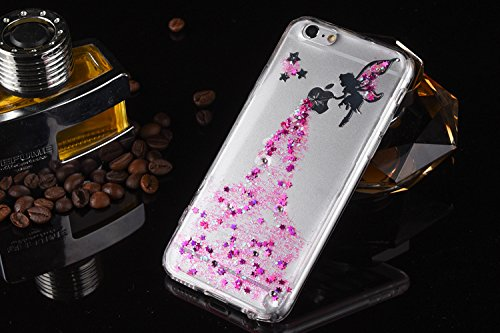 iPhone 3S, Iphone 6 cas, ikasus cristal transparent Bling Glitter Sparkle Ange Fille Star Cadre souple en silicone souple Ultra Fine en TPU Bumper Coque de protection en caoutchouc pour Apple iPhone 6 Rose