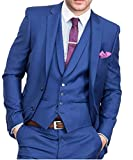 O.D.W Slim Fit Herrenanzug Glanzanzug Sakko mit Hose für Business Formales 3-Teilig (Königsblau,46)