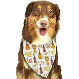 Wfispiy Stilvolle Bunte Musikinstrument-Muster-Ostern-Hundebandana-umkehrbares Dreieck-Lätzchen für Hundehaustier-Tiere