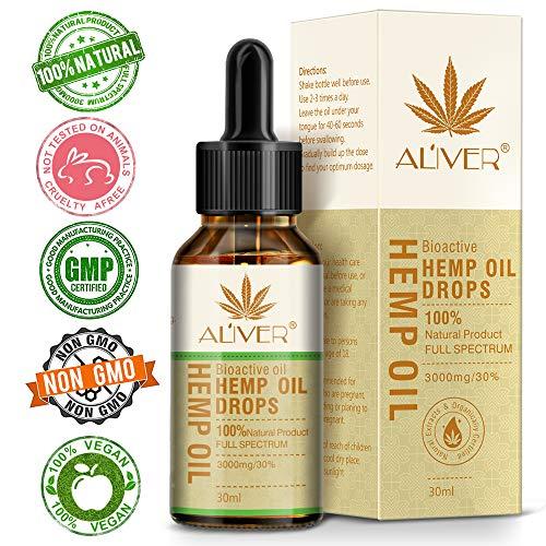 Hanföl für Schmerzlinderung Angst Schlafmittel Natürliche organische Hanfsamen Full Spectrum Extract (3000mg | 30ml) (Hemp oil) -