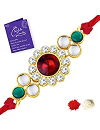 Sukkhi Exquisite Gold Plated Floral Rakhi with Roli Chawal and Raksha Bandhan Greeting Card For Men