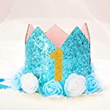 Corona de flores Diadema para los recien nacidos Corona de cumpleanos de oro de Numero de 1 ano de Estilo de princesa Sombrero de cumpleanos Accesorio para el cabello de bebe