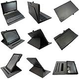 Coodio® Smart Asus Transformer Book T100TA funda de cuero rotatoria 360 con soporte integrado apretón de la mano(support teclado) - Negro