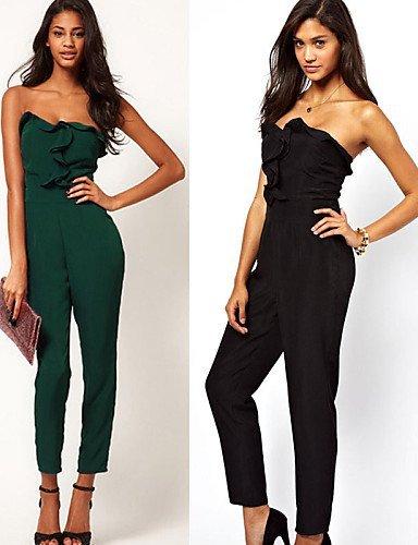 GSP-Combinaisons Aux femmes Sans Manches Décontracté / Grandes Tailles Polyester Opaque Micro-élastique army green-m