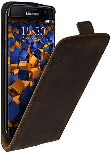 mumbi PREMIUM Leder Flip Case für Samsung Galaxy S7 Edge Tasche braun
