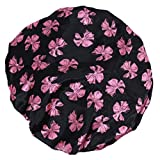 Imported Black Butterfly Shower Cap Bath Shower Reusable Clear Satin Hair Cover