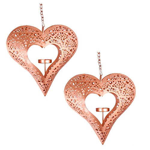Set of Two Ornate Morrocan Mosaic Rose Copper Hanging Heart Shaped Tealight Holders - Look Stunning In A Country Garden Or Any Indoor Interior. Ideal Gift Idea for 7th Wedding Anniversary! H21 x W23 x D4cm