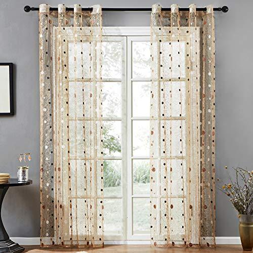 Topfinel ricamate a pois voile per tende moderne camera da letto,140 x 260 cm, 2 pezzi, marrone