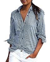 ZANZEA Women Long Sleeve Button Down Collar Blouse Striped Tops T shirt Short Lapel Tops