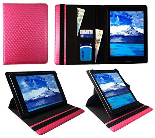"Denver TAD-10063 / TAD-10072 / TAQ-10122 / TAQ-10133 / TAQ-10153 10.1"" Tablet Rosa 3D Cube Universal 360 Grad Drehung PU Leder Tasche Schutzhülle Case ( 9 - 10 Zoll ) von Sweet Tech"