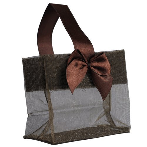 Mini Sheer Organza Tote Chocolate Brown Wedding Bridal Shower Favor Gift Bag 3.25 x 3.25 x 2 by RaeBella Weddings & Events New York (Brown Tote Chocolate)