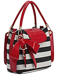 Generic Officewear Women's Stylish 30 Ltr Leather Handbag With Big Red Bow Black And White Color